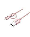 Kabel do iPhone/iPad Lighning/MicroUSB MFI Unitek Mobile - rózowy