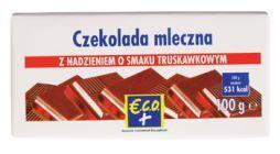 Czekolada mleczna z nadzieniem o smaku truskawkowym 100g
