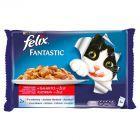 Felix Fantastic Wybór mięs w galaretce z wołowiną i kurczakiem Karma dla dorosłych kotów 4 x 100 g