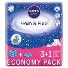 NIVEA Baby Fresh and Pure Chusteczki 4 x 63 sztuki