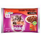Whiskas Junior Wybór dań mięsnych w sosie Karma pełnoporcjowa 2-12 miesięcy 400 g (4 saszetki)