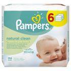 Pampers Natural Clean chusteczki dla niemowląt 6 x 64 sztuki