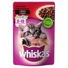 Whiskas Junior 2-12 miesięcy Karma pełnoporcjowa z wołowiną w sosie 100 g