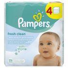 Pampers Fresh Clean Chusteczki dla niemowląt, 4 x 64 sztuki