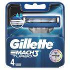 Gillette Mach3 Turbo Ostrza wymienne do maszynki do golenia dla mężczyzn, 4 sztuki