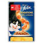 Felix Sensations z wołowiną w galaretce z pomidorami Pełnoporcjowa karma dla dorosłych kotów 100 g