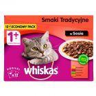 Whiskas Wybór dań mięsnych w sosie Karma pełnoporcjowa 1+ lat 1,2 kg (12 saszetek)