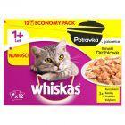 Whiskas 1+ lat Karma pełnoporcjowa potrawka w galaretce smaki drobiowe 1020 g (12 x 85 g)