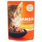 IAMS Delights z apetycznym kurczakiem oraz indykiem w sosie Karma dla dorosłych kotów 85 g