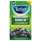 Tetley Super Green Tea Serce Herbata zielona o smaku jagody i jeżyny 40 g (20 torebek)