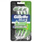 Gillette Blue3 Sensitive Jednorazowa maszynka do golenia dla mężczyzn, 5+1 sztuk