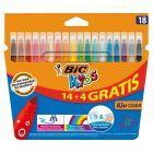 BiC Kids Kid Couleur Kolorowe flamastry zmywalne 18 sztuk